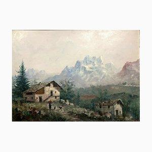 Antique Alpine Village in the Piedmont Oil on Panel par Antoni Louis Ferdinand