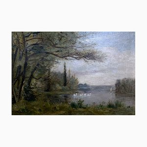 French School Lake Landscape Painting with Swans, 19th-Century