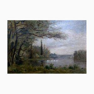 Peinture d'École de Paysage de Lac avec Cygnes, France, 19ème Siècle