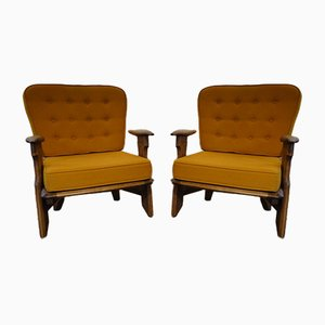 Vintage French Armchairs by Guillerme et Chambron for Votre Maison, 1960s, Set of 2