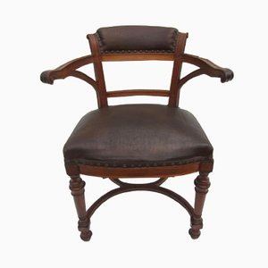 French Art Nouveau Carved Oak Armchair