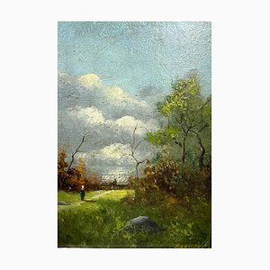 Barbizon Oil on Panel with Lacquered Frame by William Barr