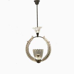 Art Deco Murano Glass Light Pendant by Ercole Barovier, 1940s