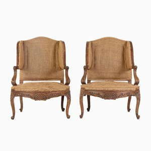 French Oak Armchairs, Set of 2