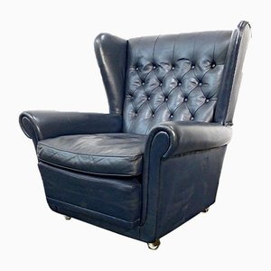 Vintage English Queen Anne Style Blue Chesterfield Leather Armchair, 1960s