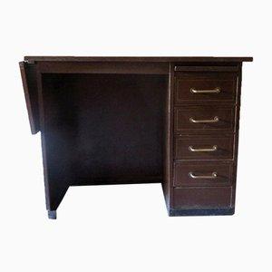 Kleiner Industrieller Schreibtisch aus Metall mit goldenem Muster von Roneo, 1960er