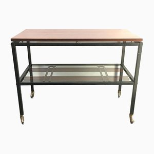 Mid-Century Glass Coffee Table on Wheels from Zuenelli