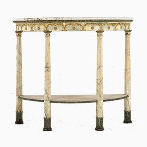 18th-Century Italian Demilune Console Table with Marble Top