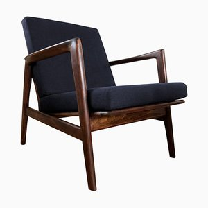 Mid-Century Dark Blue Armchair from Swarzędzkie Furniture Factory, 1960s