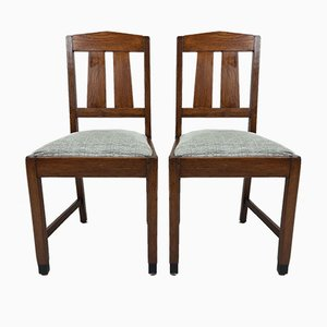 Art Deco Oak Amsterdam School Dining Chairs, 1920s, Set of 2