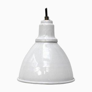 Lampada a sospensione vintage industriale smaltata bianca