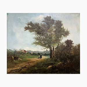 Barbizon School Animated Rural Landscape In Autumn, Oil On Canvas