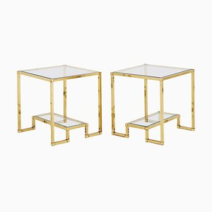 Mid-Century Brass 2-Tier Side Tables, 1970s, Set of 2