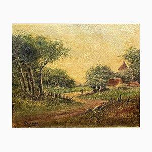 École de Barbizon The Path to the Village, huile sur Toile par HC Darn