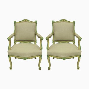 Louis XVI Style Armchairs In Pale Yellow & Green Paint, Set of 2