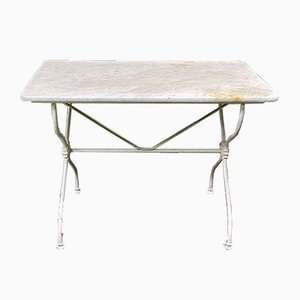 Vintage Marble Dining Table with Cast Iron Base