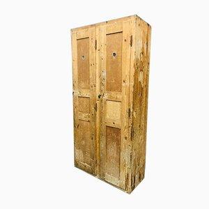 Wooden Locker with 2 Doors & Drawers, 1920s