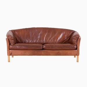 Vintage Danish Cognac Leather 2.5-Seat Sofa from Mogens Hansen, 1970s