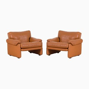 Light Brown Leather Coronado Lounge Chairs by Tobia & Afra Scarpa for B&B Italia / C&B Italia, 1970s, Set of 2