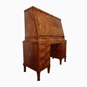 Art Deco Walnut Secretaire with Birch Inlay & 16 Drawers, 1920s