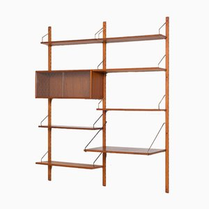 Teak Royal Wall Unit with Desk & Sliding Doors Cabinet by Poul Cadovius for Cado, 1960s
