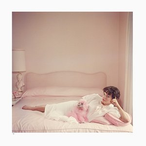 Joan Collins Relaxes Archival Pigment Print Framed in White by Slim Aarons