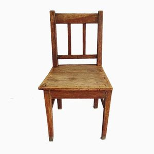 Sedia da bambino alta antica in quercia