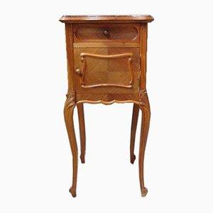 Table de Chevet Antique en Noyer avec Plateau en Marbre