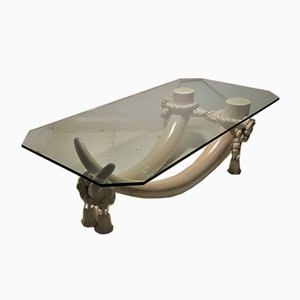 Hollywood Regency Style Faux Tusk Coffee Table in the Style of Valenti, 1980s