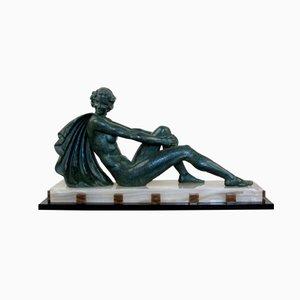 Große Französische Art Deco Figur aus Zink von Ugo Cipriani, 1930er