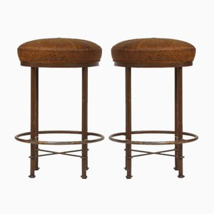 Vintage Leather Stools, Set of 2