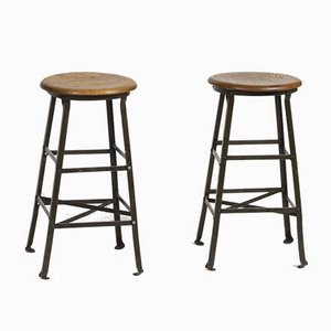 Vintage Engineer Stools, Set of 2