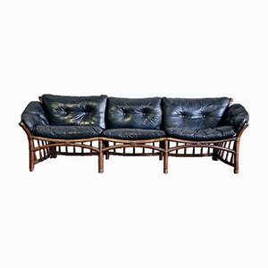 Vintage Leather and Rattan 3-Seater Sofa,1970s