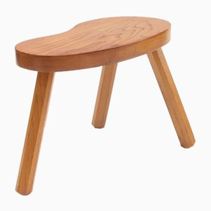Low Blonde Solid Wood Stool, 1950s