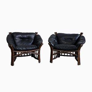 Vintage Leder und Rattan Stühle und Couchtisch, 1970er