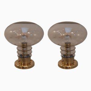 Lampes de Bureau Mushroom en Verre Fumé et Verre Fumé de JB Leuchten., 1970s, Set de 2