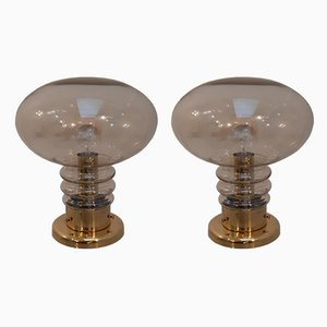 Smoked Glass & Brass Mushroom Table Lamps from J B Leuchten., 1970s, Set of 2