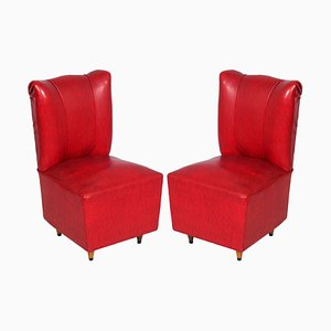 Art Deco Italian Leatherette Lounge Chairs by Osvaldo Borsani, 1930s, Set of 2