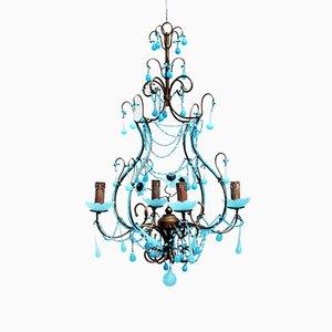Lampadario antico in vetro opalino blu