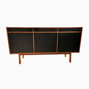 Vintage Teak Sideboard with Black Lacquered Doors, 1970s