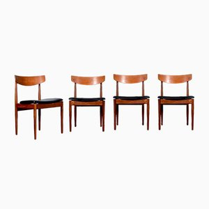 Chaises de Salon en Afromosia et Cuir Aniline par Ib Kofod Larsen pour G-Plan, 1960s, Set de 4