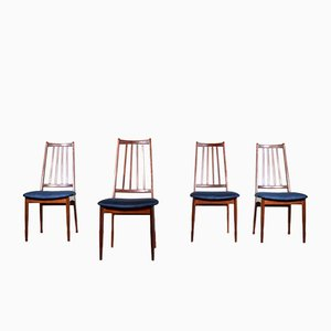 Mid-Century Scandinavian Afromosia and Velvet Dining Chairs, 1960s, Set of 4