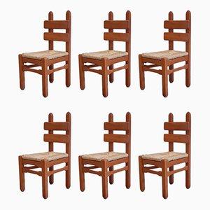 Brutalist Oak & Rush Chairs, 1960s, Set of 6