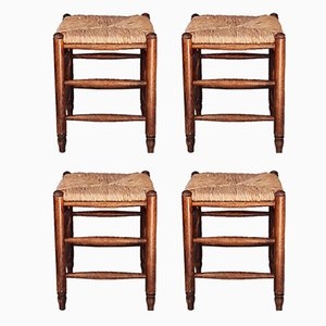 Wood and Rush Stools, Set of 4, 1960s