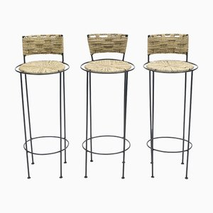 Metal & Rope Stools by Adrien Audoux & Frida Minet, 1950s, Set of 3