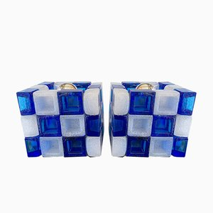 Italian Glass Cube Lamps from Poliarte, 1970s, Set of 2