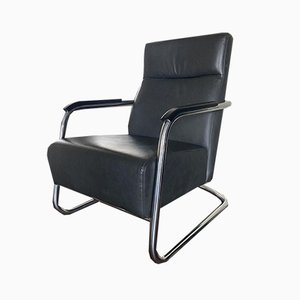 Vintage Leather and Tubular Steel Lounge Chair, 1980s