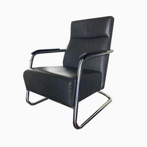 Vintage Leder und Stahlrohr Sessel, 1980er