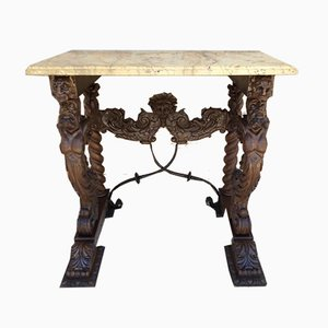Antique Carved Console Table with Beige Marble Top