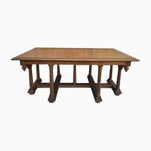 Antiker Spanischer Geschnitzter Kirchentisch oder Altar mit Holzstretchen